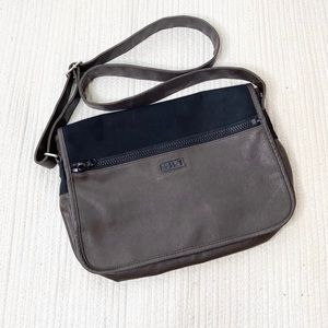 Esprit Unisex Brown Taupe Leather Messenger Bag